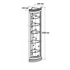 Витрина-шкаф угловая МКС 164-50 с2 с зеркалами НН