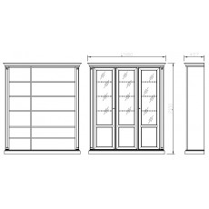 Шкаф книжный 3-дверный 960/С