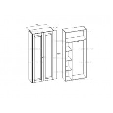 Шкаф двухдверный для платья и белья с выдвижной штангой МКС 144-54 БЯ