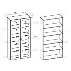 Шкаф книг двухстворчатый МКС 144-23 БЯ