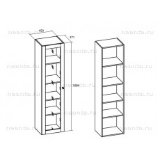 Шкаф книг одностворчатый МКС 144-12 БЯ