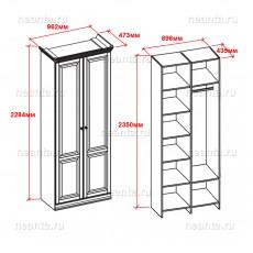 Шкаф двухдверный (двери с горизонтальным нижним бруском) МКС 168-85 ОМТ