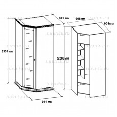 Шкаф угловой МКС 168-62 с2 НН