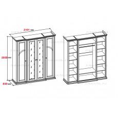 Шкаф четырехдверный МКС 168-61 БЯ